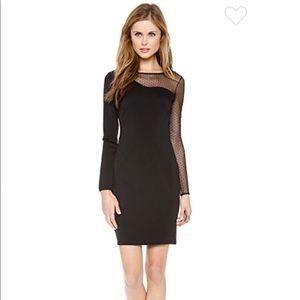 Halston Heritage Black Dot Mesh Layer Sheath Dress